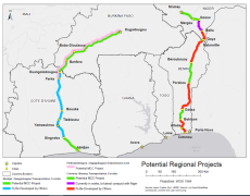 A map showing MCC regional impacts in West Africa