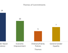 A chart showing the themes and numbers of commitments from Biarritz