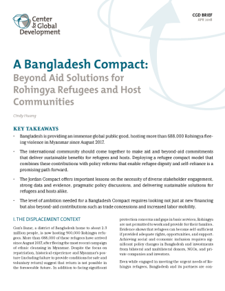 Cover of A Bangladesh Compact: Beyond Aid Solutions for Rohingya Refugees and Host Communities