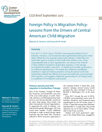 Cover of brief on Central American child migrations