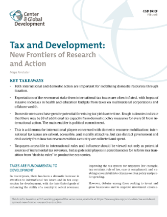 Cover of brief on Tax and Development