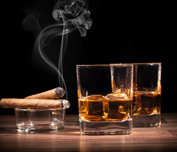 An image of alcohol and tobacco