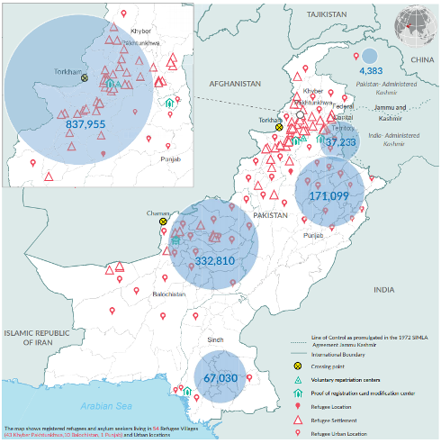 A map showing the location of Afghan refugees in Pakistan.