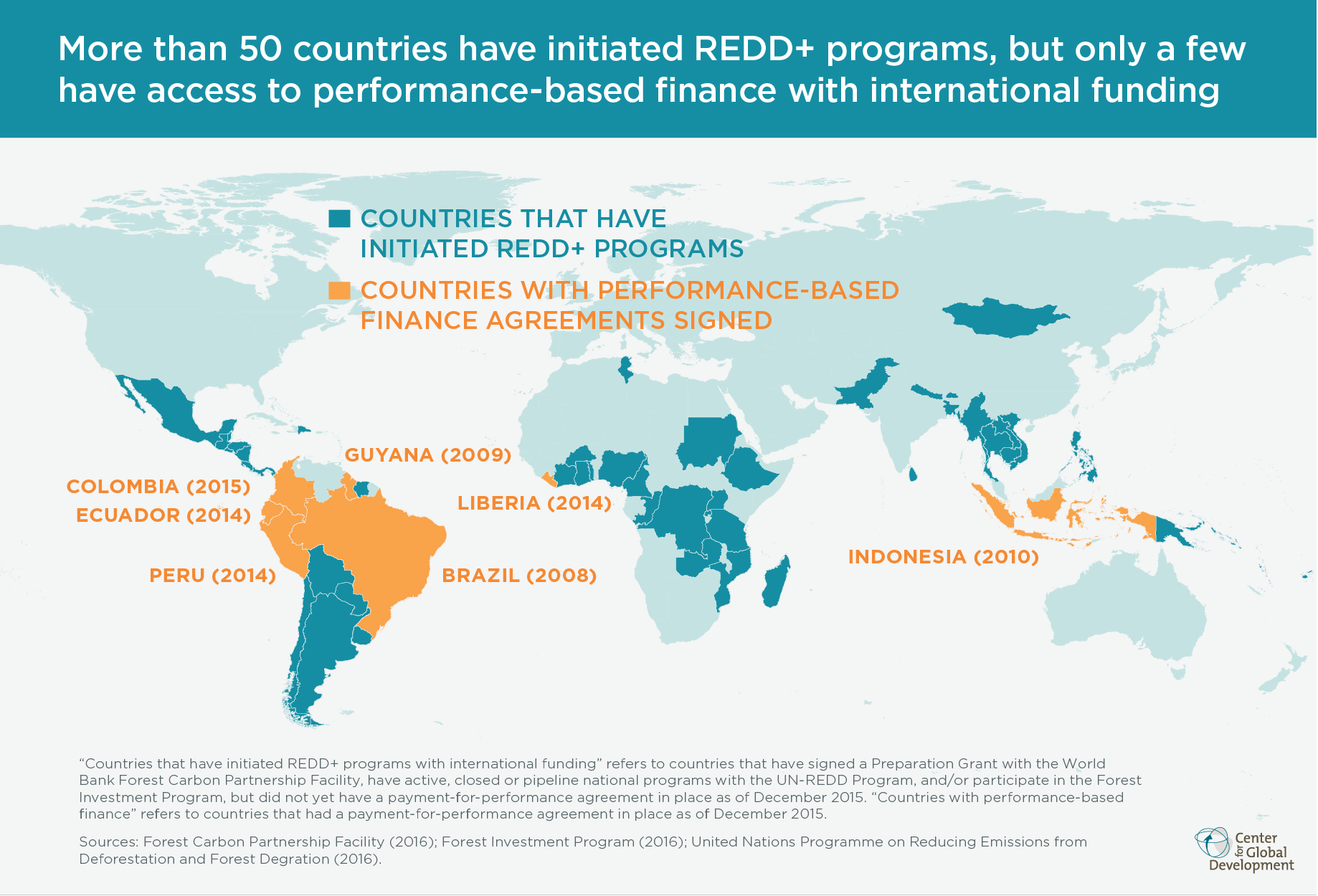 Infographic: Map of countries with Redd+ agreements